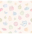 Sweet cakes and tea seamless pattern vector image