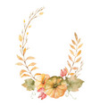 watercolor autumn wreath of leaves vector image