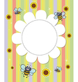 A flowery designed empty template with bees vector image vector image
