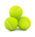 Three tennis balls vector image