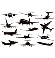 Aircraft silhouettes set vector image vector image