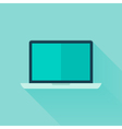 Flat laptop over blue vector image