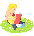 boys is reading a book vector image