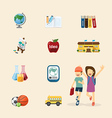 flat icons set of education design concept vector image