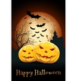 Halloween Party Card with Pumpkins vector image