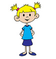 little girl in blue dress vector image