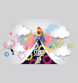 rocket ship launch on watercolor sky business vector image