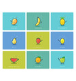 Set of fruit icons cute cartoon food characters vector image