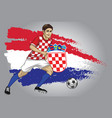 croatia soccer player with flag as a background vector image