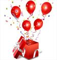 Balloons out of the open gift box vector image vector image
