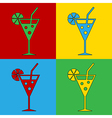 Pop art cocktail glass icons vector image
