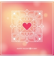 Design concept with linear heart frame on blurred vector image vector image