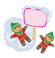 little boy lying on the snow and making a vector image
