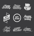 Set of Happy Birthday lettering vector image