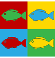 Pop art fish icons vector image