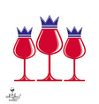 Elegant luxury wineglasses with king crown graphic vector image