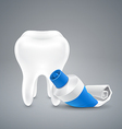 Almost empty tube toothpaste and white tooth vector image
