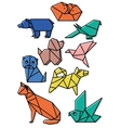 cute origami animals pets set with dark lines and vector image