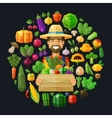 fresh food fruits and vegetables icons set vector image