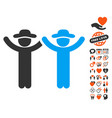 hands up gentlemen icon with lovely bonus vector image