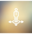 Man in three ways thin line icon vector image