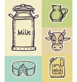 Milk and dairy products hand vector image