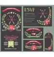 Wedding invitation template setFloral wreath vector image