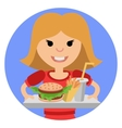 Young girl with fast food in his hands vector image