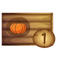 A wooden frame with one vegetable vector image