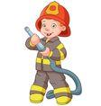 cute cartoon boy fireman vector image