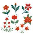 decorative flowers set vector image