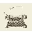 Hand drawn vintage typewriter Sketch publishing vector image