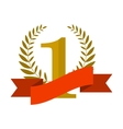 Number one with ribbon and laurel wreath vector image