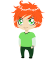 Red Headed Guy In Green Clothes vector image