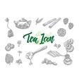 Sketch Tea Icons Set vector image