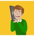 Man with huge smart phone vector image