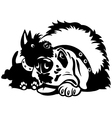 two cartoon dogs black white vector image