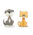 Dog and cat cute cartoon vector image