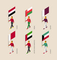 isometric 3d people with flags of middle east vector image