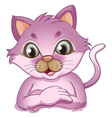 An adorable purple cat vector image vector image