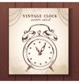 Old retro alarm clock card vector image