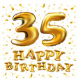 35th birthday celebration with gold balloons and vector image