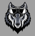 wolf head wearing a goggle vector image