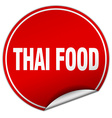 thai food round red sticker isolated on white vector image