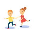 flat cartoon boy girl kid dancing isolated vector image