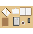 Icons Office Supplies Business Workplace Concept vector image