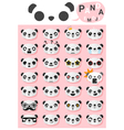 Panda emoji icons vector image