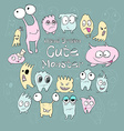 Set of cute cartoon monsters different colors and vector image