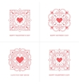 Four red linear heart emblems vector image vector image