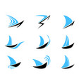 sailboat icons set vector image